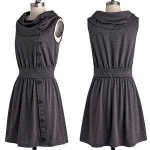 Fervour Modcloth Gray Off Center Button Dress 3X